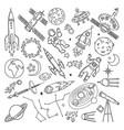 doodle different universe elements planets sun vector image vector image