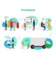 drop shopping online e-commerce business 5 steps vector image