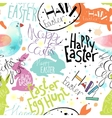 Easter pattern with lettering bunnies and bird vector image vector image