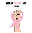 fight hand fist against cancer pink ribbon vector image vector image