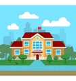 flat of school building for vector image vector image