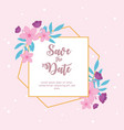 flowers wedding save date ornate texture vector image