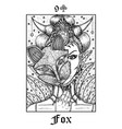 fox tarot card from lenormand gothic mysteries vector image vector image