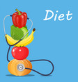 fruits and vegetables with a stethoscope vector image