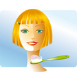 girl and toothbrush vector image