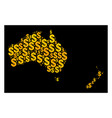 golden mosaic map of australia and new zealand of vector image