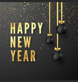 greeting golden text happy new year on dark vector image
