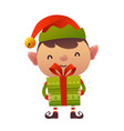 happy cute cartoon christmas elf with gift vector image vector image