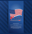 independence day card with us flag vector image