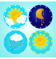 kids weather icons set with moon sun and rain vector image