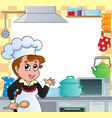 kitchen theme frame 2 vector image vector image