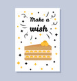 make a wish postcard and title vector image