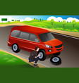 man changing flat tire vector image