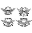 outlaw street warriors set winged skulls vector image vector image