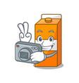 photographer package juice mascot cartoon vector image vector image