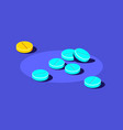 pills and tablets medical drugs on blue vector image