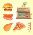 printmodern flat commercial restaurant building vector image vector image