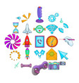 progressive technology icons set cartoon style vector image vector image