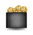 realistic black bitcoin wallet investment vector image vector image