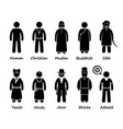 religion people in world stick figure vector image