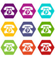 retro phone icons set 9 vector image vector image