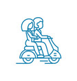 riding on a motorcycle linear icon concept riding vector image vector image