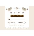 RSVP Wedding card gold love bird theme vector image vector image