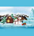scene with snowman and present in winter time vector image