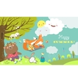 set cartoon characters and summer elements vector image vector image