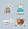 set cartoon stickers patches or pins vector image