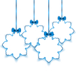 Set Christmas paper snowflakes with bows isolated vector image vector image