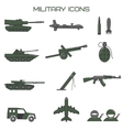 set military icons tank fighting machine vector image