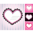 set of 4 hearts shape lace doily on stripe backgro vector image vector image
