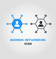 simple business networking icon in blue hexagon vector image vector image