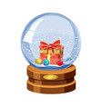 snow globe with shiny snow and gift box with vector image vector image