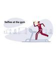 sportswoman running on treadmill girl taking vector image vector image
