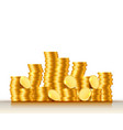 stacks coins on white background vector image vector image