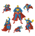 Superhero in different actions set vector image vector image