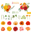 Vintage Flowers and Leaves - in Watercolor Style vector image vector image