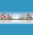 welcome to italy city skyline with gray buildings vector image vector image