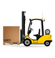 yellow warehouse forklift with a cardboard box on vector image