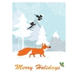 fox in winter forest vector image
