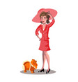 pretty girl and dog vector image