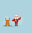 santa claus listening music with deer vector image