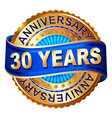 30 years anniversary golden label with ribbon vector image vector image