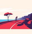 a cyclist riding along vector image