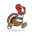 a funny turkey running vector image vector image