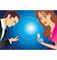 A girl and a guy talking through sms vector image vector image