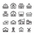 barn farm building icon in thin line style vector image vector image