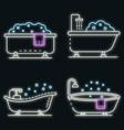bathtub icon set neon vector image vector image